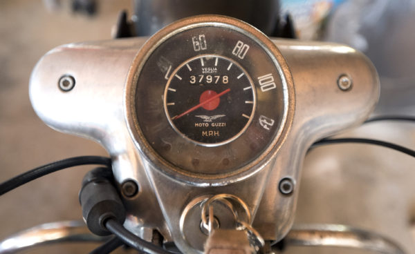 The speedometer of a 1970's Moto Guzzi at Chuck Sim's Winterport shop. Sim rebuilds antique motorcycles and specializes in Moto Guzzi bikes, but has worked on many antique cars and bikes over the years.