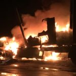 A tractor-trailer truck driven by Marlin Hostetler, 40, of Littleton burst into flames on Interstate 95 Wednesday evening. Hostetler was not injured in the April 26 fire. The tractor trailer, which was hauling a load of potatoes south, was destroyed.