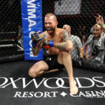 Derek Shorey of Dover-Foxcroft celebrates after beating Pete Rogers Jr. in a Sept. 23, 2016 featherweight fight at the CES MMA 38 show in Mashantucket, Connecticut.