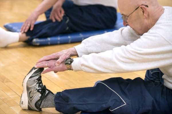 Bangor resident Rick Gammon, 73, during a yoga class for seniors at the Bangor Y on Wednesday morning.