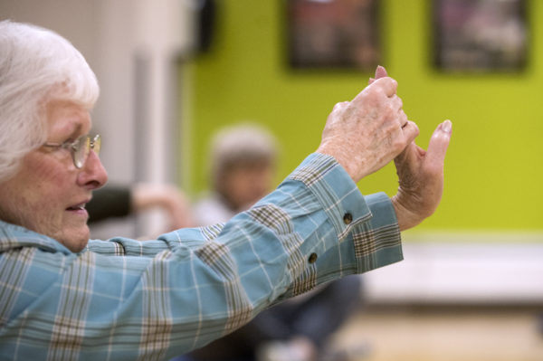 Newburgh resident Mary Armstrong, 80, during a yoga class for seniors at the Bangor Y on Wednesday morning.
