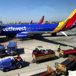 A Southwest Airlines plane is seen at Los Angeles International Airport.