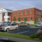 A rendering of Belfast's consolidated court building, which will replace the Waldo County Superior Court and Belfast District Court.