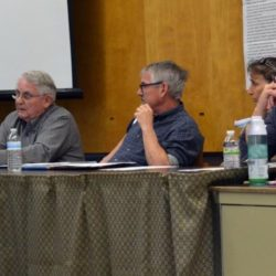 From left: Wiscasset Advisory Committee members Bill Maloney, Steve Christiansen, Susan Robson, and Lonnie Kennedy-Patterson speak at an April 24 meeting.