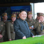 North Korea's leader Kim Jong Un watches a military drill marking the 85th anniversary of the establishment of the Korean People's Army (KPA) in this handout photo by North Korea's Korean Central News Agency (KCNA) made available on April 26, 2017.