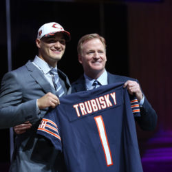 Mitchell Trubisky of the University of North Carolina (left) poses with NFL commissioner Roger Goodell as he is selected as the No. 2 overall pick to the Chicago Bears in the first round the 2017 NFL Draft at Philadelphia Museum of Art on Thursday night. Defensive lineman Myles Garrett of Texas A&M was the top pick, going to the Cleveland Browns.