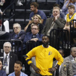 Indiana Pacers president Larry Bird watches a game against the Atlanta Hawks this season. Bird reportedly will step down from his position.