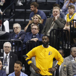 Indiana Pacers president Larry Bird watches a game against the Atlanta Hawks this season. Bird reportedly will step down from his position. Mandatory Credit: Brian Spurlock-USA TODAY Sports
