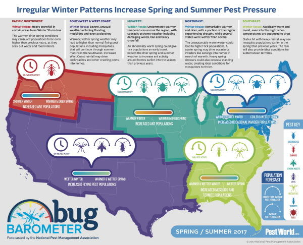 An infographic from the 2017 spring Bug Barometer, a guide developed by entomologists of National Pest Management Association for what's expected this spring in terms of bugs, including ticks and mosquitoes, in each part of the country.