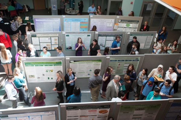 During Research and Scholarship Day, Husson University undergraduates, graduate students, and faculty members share the results of their many capstone research projects and graduate theses.