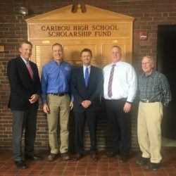 A check presentation was recently held with representatives of MMG Insurance and The Friends of Caribou Schools. Picture attached, from left: Matt McHatten, Sam Collins, Larry Shaw, Tim Doak, and Bob White.