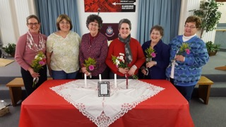 Maine-ly Harmony officers, l-r, Cathy Anderson, BJ Pellett, Janet Dunham, Candace Pepin, Betty Every and LouAnn Mossler.