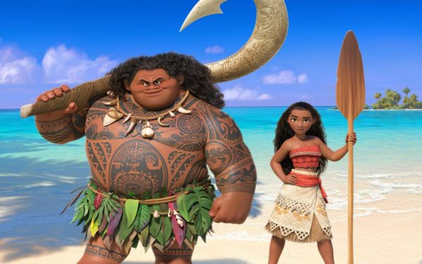 "The mighty demigod Maui (voiced by Dwayne &quotThe Rock&quot Johnson) teams up with the adventurous ""Moana"" (voiced by Auli'i Cravalho)."