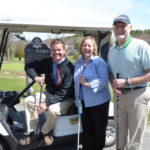 Left to right: Mark Politte, Owner of Stanley Scooters, Debbie Mitchell-Dow of Bar Harbor Bank & Trust, and Daniel Johnson, Executive Director of the Acadia Family Center, gather at Kebo Valley Golf Club in Bar Harbor.  Bar Harbor Bank & Trust's 24th Annual David R. Harding Memorial Golf Tournament is being played at Kebo on June 6 to benefit the Acadia Family Center.  There will be two hole-in-one contests where the prizes are a new Vespa Scooter, and a 2017 Buick Encore from Darling's!  For more information and to register call 667-7100.