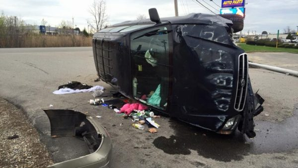 Police found an abandoned vehicle rollover on Larrabee Road in Westbrook on Saturday morning.