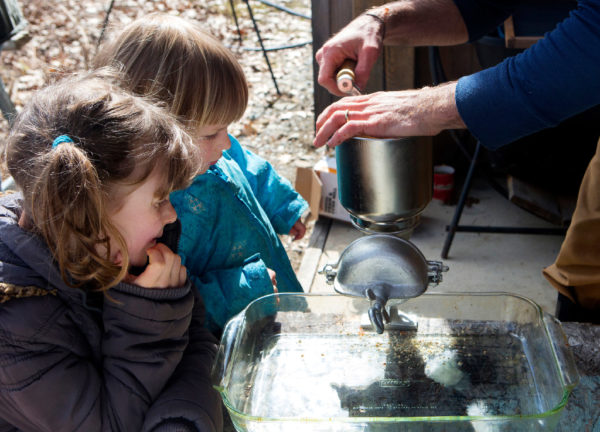 Leah Byers (left), 7, and Liza Byers, 4, watch as their father, Steve Byers uses a hand grinder to make the acorns into flour at their home in Belfast on Thursday. The group expects to make around 20 pounds of acorn flour when they are done.