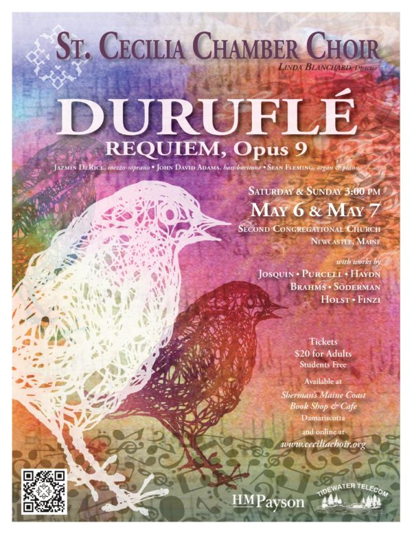 St. Cecilia Chamber Choir presents Duruflé Requiem and works by Brahms, Finzi, Haydn, Holst, Josquin, Purcell, and Söderman on May 6 and 7