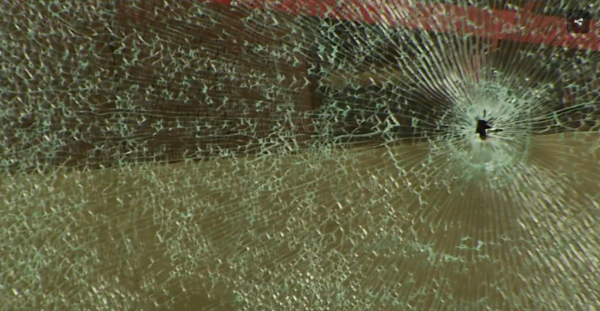 A shattered window at the Lewiston Public Library.