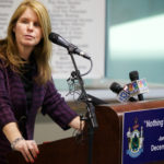 Commissioner Mary Mayhew speaks at the opening of the regional home for state Department of Health and Human Services and Department of Labor offices in South Portland, Jan. 5, 2015.