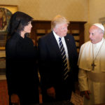 Pope Francis talks with U.S. President Donald Trump and his wife Melania during a private audience at the Vatican, May 24, 2017.
