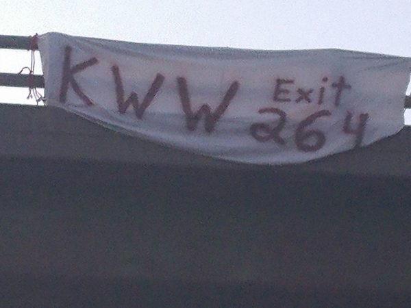 The banner hung by Herman and Lisa Ammerman of Benedicta points the way to one of the Interstate 95 exits to Maine's national monument.