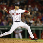 May 24, 2017; Boston, MA, USA; Boston Red Sox pitcher Joe Kelly (56) delivers a pitch during the ninth inning against the Texas Rangers at Fenway Park. Mandatory Credit: Greg M. Cooper-USA TODAY Sports