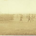 Soldiers of the 2nd Maine Infantry on parade at Camp Keyes in Augusta in 1917.