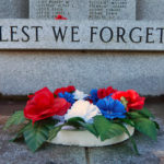 A Memorial Day wreath at the World War II memorial in Fort Kent, Maine, in 2016 reminds those who pass by to not forget the fallen.