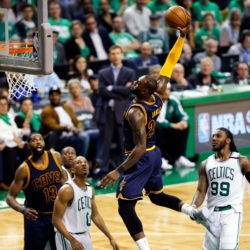 Cleveland Cavaliers forward LeBron James dunks and scores against the Boston Celtics during the third quarter of Game 5 of the Eastern Conference finals of the NBA playoffs at the TD Garden in Boston on Thursday night.