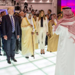 From left, Egyptian president Abdel Fattah al-Sissi, U.S. President Donald Trump, Saudi King Salman Bin Abdelaziz (or Abdul Aziz) Al Saud, first lady Melania Trump, and King of Bahrain Hamad bin Issa Al Khalifa visit a center to fight extremism in Riyadh, Saudi Arabia on May 21, 2017.