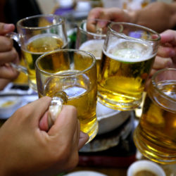 People drink beer in a restaurant