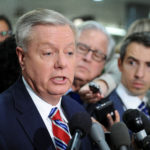 U.S. Sen. Lindsey Graham, R-South Carolina, speaks to the media after Deputy U.S. Attorney General Rod Rosenstein's classified briefing for the full U.S. Senate on President Donald Trump's firing of FBI Director James Comey in Washington, May 18, 2017.