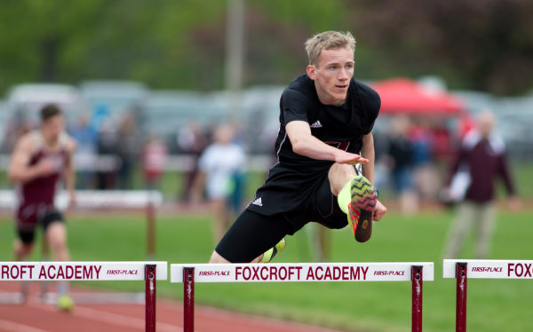 Orono's Stephen Nelson placed first in the boys 300 meter hurdles at the PVC Small School Championship Meet held at Foxcroft Academy on Monday.