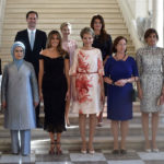 France's first lady Brigitte Trogneux, Turkey's first lady Emine Erdogan, Luxembourg's Gauthier Destenay, U.S. first lady Melania Trump, Slovenia's Mojca Stropnik, Queen Mathilde of Belgium, Iceland's Thora Margret Baldvinsdottir, Norway's Ingrid Schulerud - Stoltenberg, Bulgaria's Desislava Radeva and Belgium's  Amelie Derbaudrenghien pose for a group picture at the Royal Castle of Laeken in Brussels, May 25, 2017.