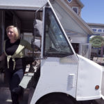 Abby Freethy, the owner of Northwoods Gourmet Girl in Greenville, in the food truck that will be operating in Brewer.
