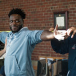 "University of Maine senior, Christophe Mulumba Tshimanga, is measured before going through ""Pro Day"" testing and workouts in front of NFL and other pro football scouts at the Latti Fitness Center and Mahaney Dome in March."