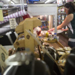 Tozier's employee Rosie Fish fills a case with fried hot dogs on Wednesday at the store in Bucksport.