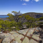 Huguenot Head and the nearby ocean are seen clearly from the Ladder Trail of Dorr Mountain on April 9, in Acadia National Park on Mount Desert Island.