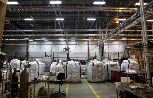 Bags of pulp and biomass wait to be refined at the University of Maine Technology Research Center in Old Town Wednesday. The Massachusetts company Biofine demonstrated its pilot biorefinery project in the former Old Town Fuel and Fiber mill.