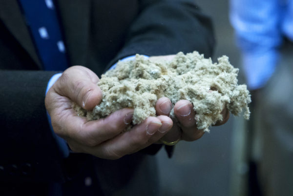 Wood pulp is seen during a tour at the University of Maine Technology Research Center in Old Town Wednesday. The Massachusetts company Biofine demonstrated its pilot biorefinery project in the former Old Town Fuel and Fiber mill.