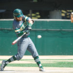 Sam Huston of Husson University connects with the ball during an April 30 game at the Winkin Complex in Bangor. The versatile sophomore from Bangor has been a defensive stalwart behind the plate and is the Eagles' top hitter heading into this weekend's North Atlantic Conference tournament at Castleton, Vermont.