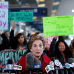 U.S. Representative for Illinois's 9th congressional district Jan Schakowsky speaks during a protest of the treatment of Dr. David Dao, who was forcibly removed from a United Airlines flight on Sunday by the Chicago Aviation Police, at O'Hare International Airport in Chicago, Illinois, U.S., April 11, 2017.