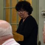 Celeste Edwards of Wiscasset speaks to the town's board of selectmen April 18 about what she said was inappropriate treatment she received from members of the Wiscasset Historic Preservation Commission.