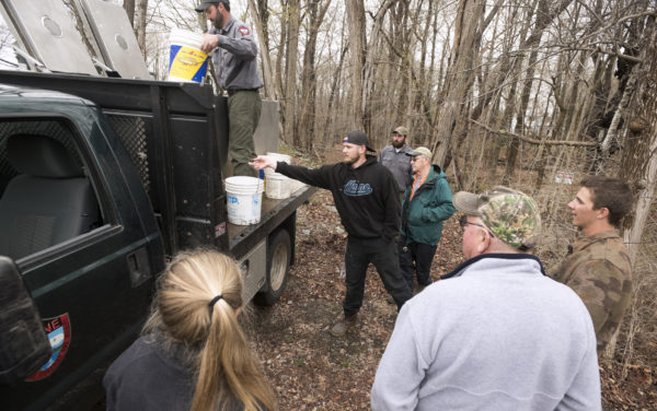 Members of the UMaine Fishing Club and the Penobscot Fly Fishers participated in the stocking of brook trout into the Stillwater River and the Kenduskeag Stream Tuesday. The fish were brought from the Maine Departement of Inland Fisheries and Wildlife hatchery in Enfield.
