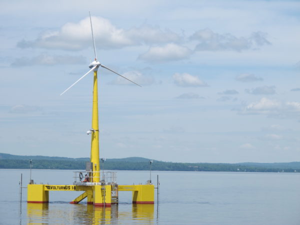 VolturnUS, the first-of-its-kind wind turbine, designed and built at the University of Maine, became the first grid-connected offshore wind turbine in the Americas to provide electricity to the power grid in June 2013.