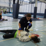 "Orono, ME -- May 5, 2017 -- The University of Maine Nursing School and University Volunteer Ambulance Service (UVAC) simulated an active shooter event on campus Friday to help prepare nursing students and student EMTs for the worst.  The mock shooting scenario took place in the field house. ""Victims"" where evaluated and given triage tags then transported to a mock hospital where nursing students would decide how to treat them in the wake of a mock mass shooting on campus.  