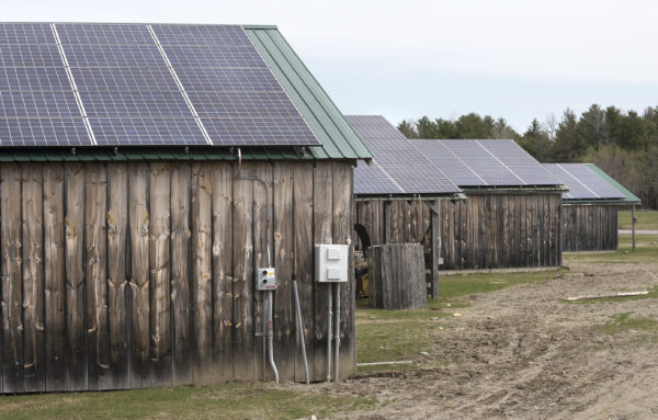 Some of the solar panels installed on buildings at the Maine Organic Farmers and Gardeners Association fairground in Unity.