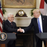 President Donald Trump gives a joint statement with President Mahmoud Abbas of the Palestinian Authority in the Roosevelt Room of the White House Wednesday, May 3, 2017 in Washington, D.C.