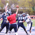 Graduate student Max Staver of the University of Maine throws a pass during Saturday's Jeff Cole Memorial Scrimmage held at Fitzpatrick Stadium in Portland.