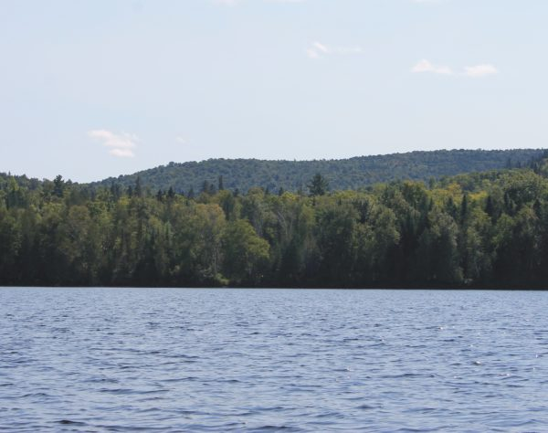 Bald Mountain seen from nearby Carr Pond, in the North Maine Woods 10 miles west of Portage. Earning its name when it was logged in the 1970s, the 1,526-foot mountain holds deposits of copper, gold, silver and other minerals that could be extracted through an open pit mine.